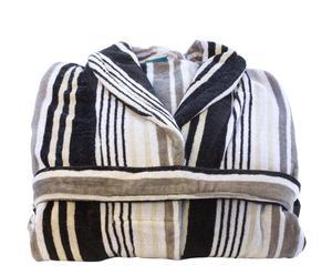 Albornoz Fusion Stripe, blanco y negro – Talla L-XL
