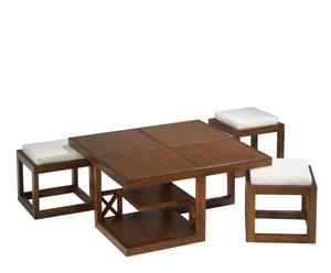 Set de mesa de centro y tres taburetes tapizados