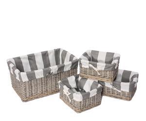 Set de 4 cestas de mimbre – rayas grises y blancas