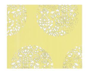 Papel pintado Cerclé – amarillo y blanco