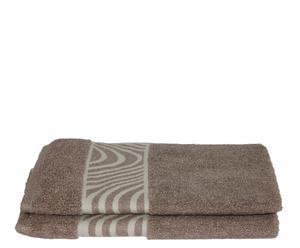 Set de 2 toallas de aseo Mouliné  - Beige