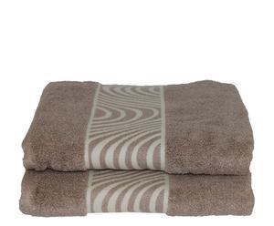 Set de 2 toallas de lavabo Mouliné  - Beige
