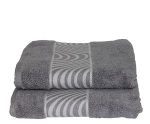 Set de 2 toallas de lavabo Mouliné  - Gris