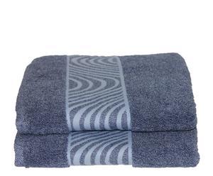 Set de 2 toallas de lavabo Mouliné  - Azul