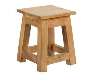 Taburete cuadrado de madera de acacia