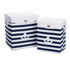 Set de 2 cestos para la ropa a rayas – azul y blanco