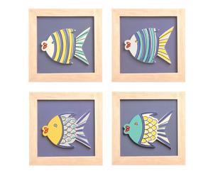 Set de 4 cuadros peces