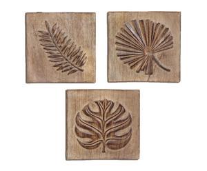 Set de 3 retablos de madera tallada Hojas