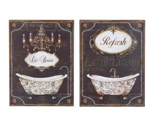 Set de 2 cuadros de baño de madera decapada