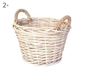 Set de 2 cestos de mimbre redondo, blanco – mediano