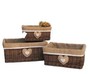 Set de 3 cestas de mimbre forradas Corazón