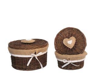 Set de 2 cajas de mimbre forradas Corazón