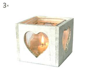 SET de 3 Portavelas de madera y cristal - Blanco envejecido