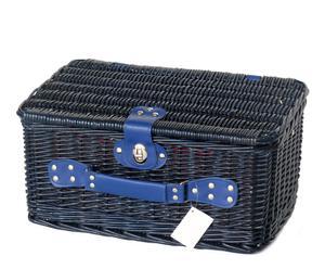 Cesta de mimbre y tela para picnic – azul y rojo