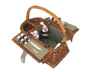 Cesta de mimbre y tela para picnic con 2 servicios – marrón