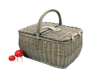 Cesta de mimbre y tela para picnic con 2 servicios, infantil - gris