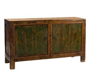 Cómoda de madera de álamo con 2 puertas Mongolia - Marrón y verde