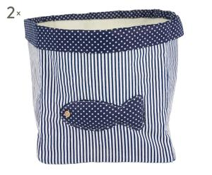 Set de dos cestas de tela – azul