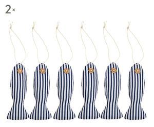 Set de 12 peces decorativos de algodón – Azul