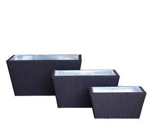 Set de 3 macetas rectangulares - negro