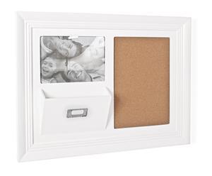 Portafotos con corcho y soporte para cartas – blanco