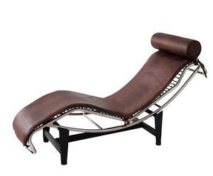 Chaise Longue de acero Inoxidable y Piel – Marrón