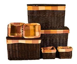 Set de 3 baúles y 4 cestas - Marrón oscuro y naranja