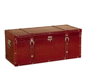Baúl de madera de pino y cuero – rojo