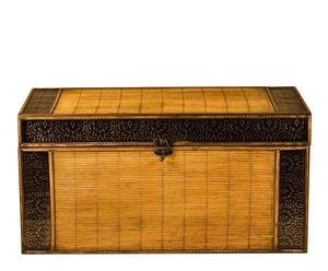 Baúl de madera de pino y bambú – beige y marrón