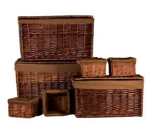 Set de 3 baúles y 4 contenedores de mimbre y algodón – marrón