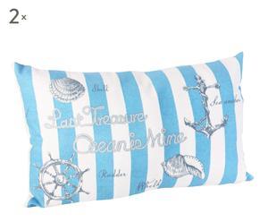 Set de 2 cojines marino rectangular - blanco y azul