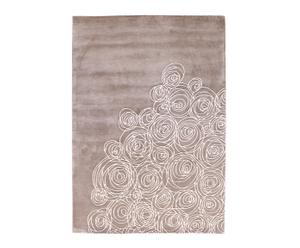 Alfombra en lana Orchid bouquet, marrón y blanco – 300x200