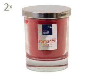 SET de 2 Velas de Cera Vegetal con esencia Vintage Romance – Rojo