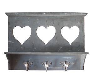 Perchero de pared de madera envejecida con portafotos de corazones - gris