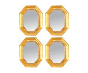 Set de 4 espejos en resina – dorado