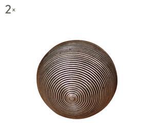 Set de 2 bolas decorativas de ratán – gris