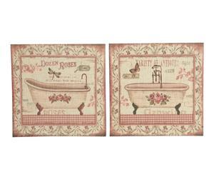 Set de 2 cuadros de lino bañeras vintage – Multicolor