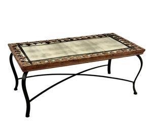 Mesa de centro de forja y madera - Marrón óxido y negro