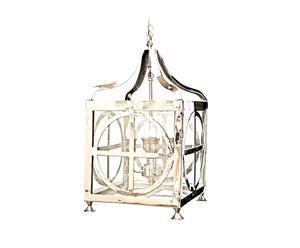 Lámpara de techo farol de latón y níquel – plata