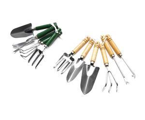 SET de utensilios de  Jardinería de Metal y madera, natural y verde – 12 piezas