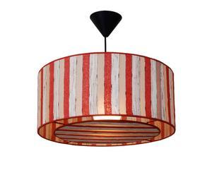 Lámpara de techo Sakim – rayas blanco y rojo