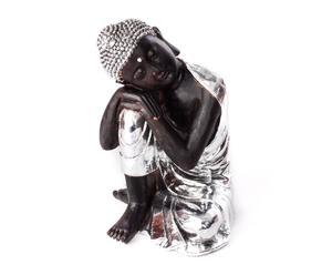 Figura de Buda recostado de resina - plata