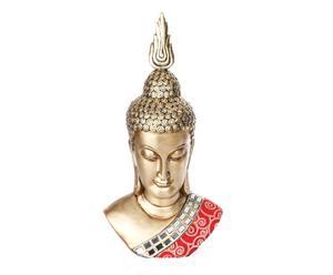 Cabeza de Buda con espejos de resina – dorado y rojo
