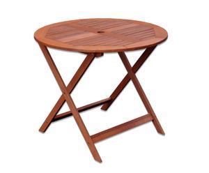 Mesa redonda de madera de meranti – Marrón