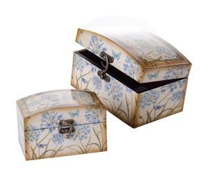 Set de 2 cajas mariposa de madera – crema y azul