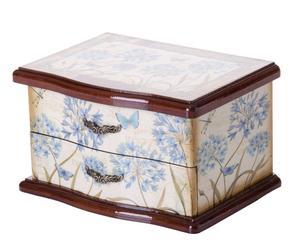 Joyero mariposa de madera - crema y azul