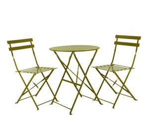 Set de 1 mesa y 2 sillas de metal - verde