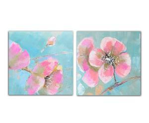 SET de 2 lienzos Flores – Turquesa