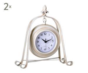 SET de 2 relojes de sobremesa de metal - crema