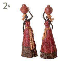 SET de 2 figuras africanas de resina – multicolor